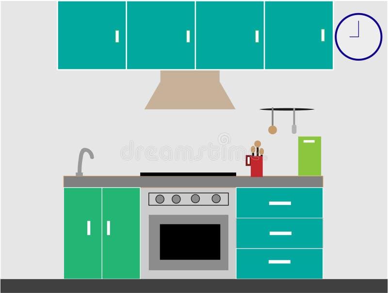 Cozinha moderna básica interior com mobília, fogão de gás em cores verdes e azuis ilustração stock