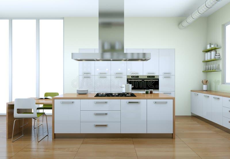 Cozinha moderna branca com design de interiores verde dos elementos ilustração do vetor