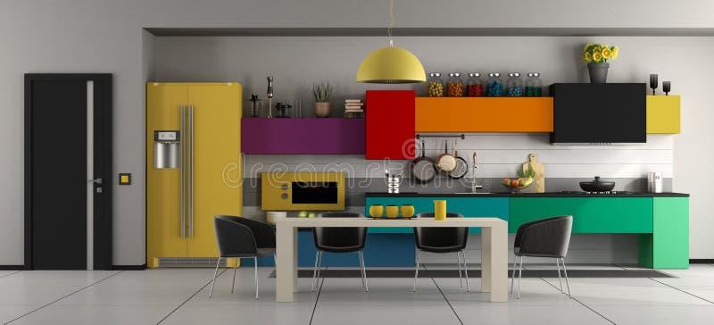 Cozinha moderna colorida com tabela e cadeiras ilustração royalty free