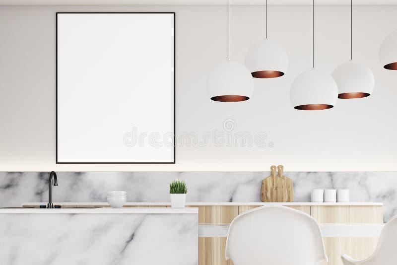 Cozinha moderna com cartaz, fim acima ilustração royalty free