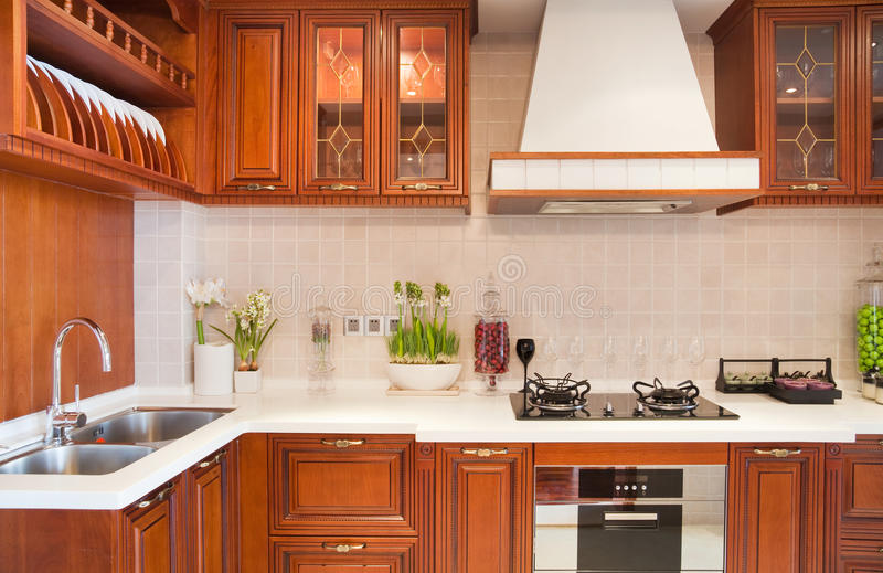 Cozinha moderna da cereja imagem de stock royalty free