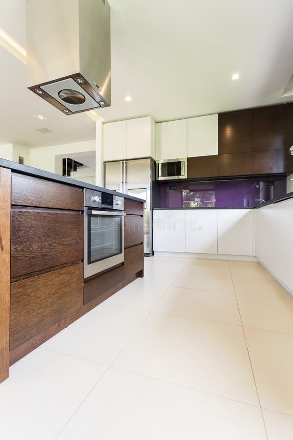 Cozinha moderna e funcional imagem de stock