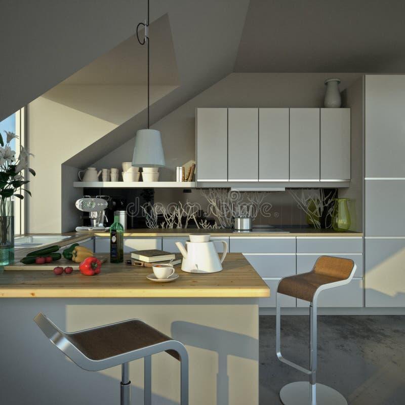 Cozinha moderna ensolarada imagem de stock