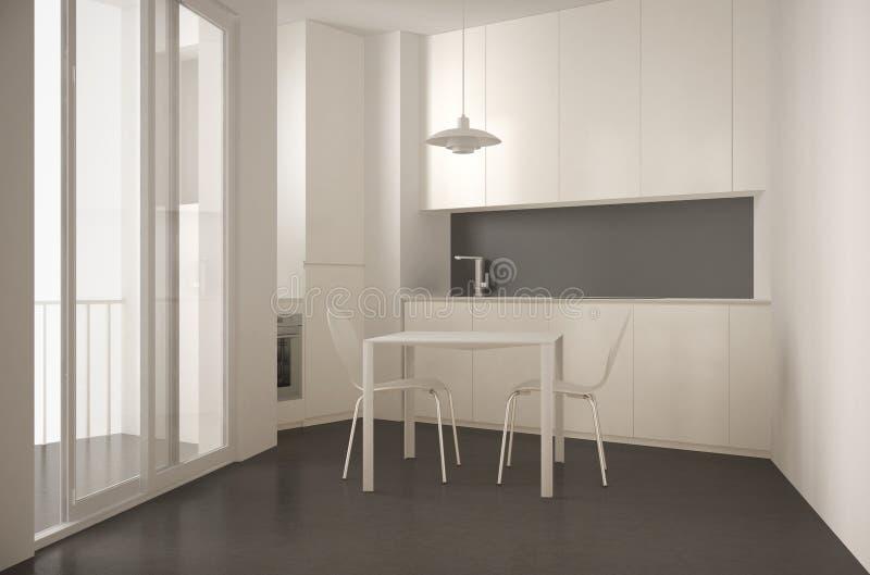 Cozinha moderna minimalista com janela e a mesa de jantar grandes com interior das cadeiras, o branco e o cinzento da arquitetura ilustração stock