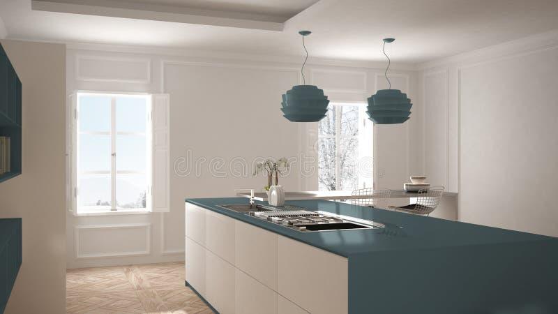 Cozinha moderna no interior clássico, ilha com tamboretes e dois janela grande, interior superior da vista, o branco e o azul da  fotos de stock royalty free