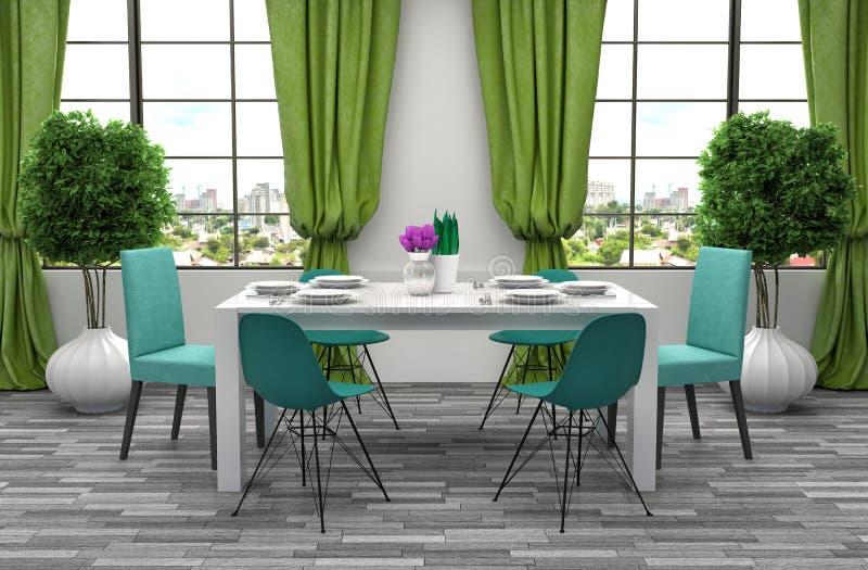 Cozinha no assoalho verde e cinzento ilustração 3D ilustração stock