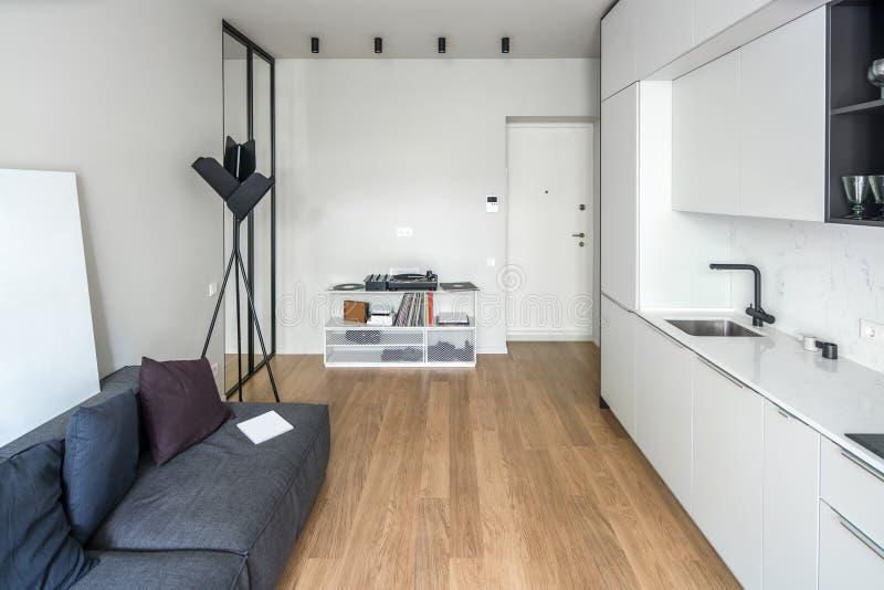 Cozinha no estilo moderno com paredes leves fotos de stock royalty free