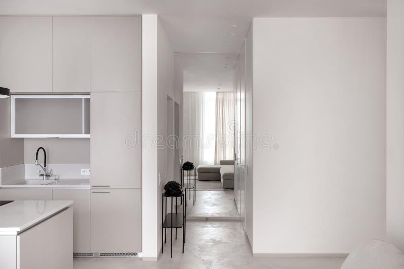 Cozinha no estilo moderno com paredes leves e o assoalho cinzento foto de stock royalty free