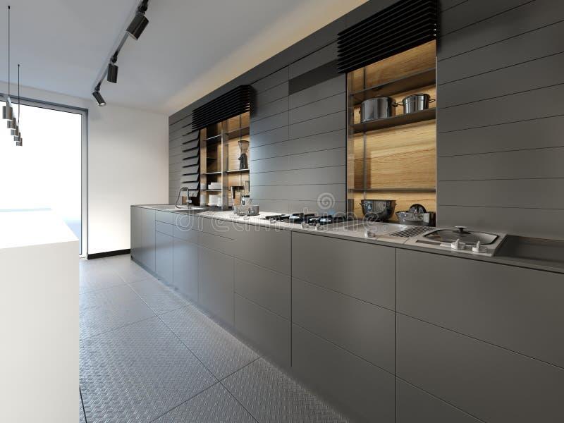 Cozinha preta da mobília com as cadeiras na cozinha fria do estilo do sótão ilustração do vetor