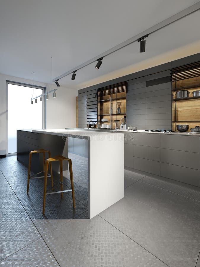 Cozinha preta da mobília com as cadeiras na cozinha fria do estilo do sótão ilustração stock