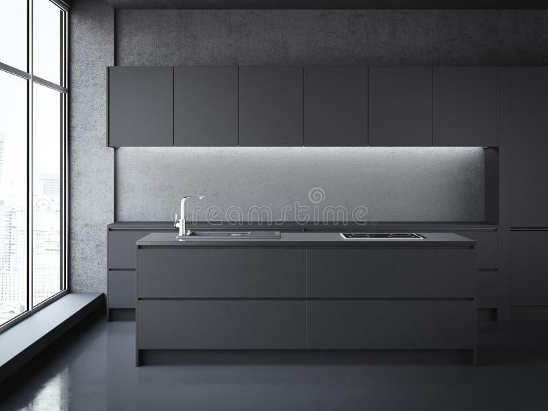 Cozinha preta moderna rendição 3d ilustração do vetor