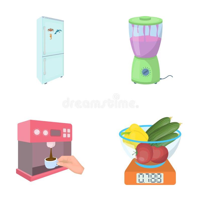 Cozinha, rafrescamento, restaurante e o outro ícone da Web no estilo dos desenhos animados botões, números, ícones do alimento na ilustração royalty free