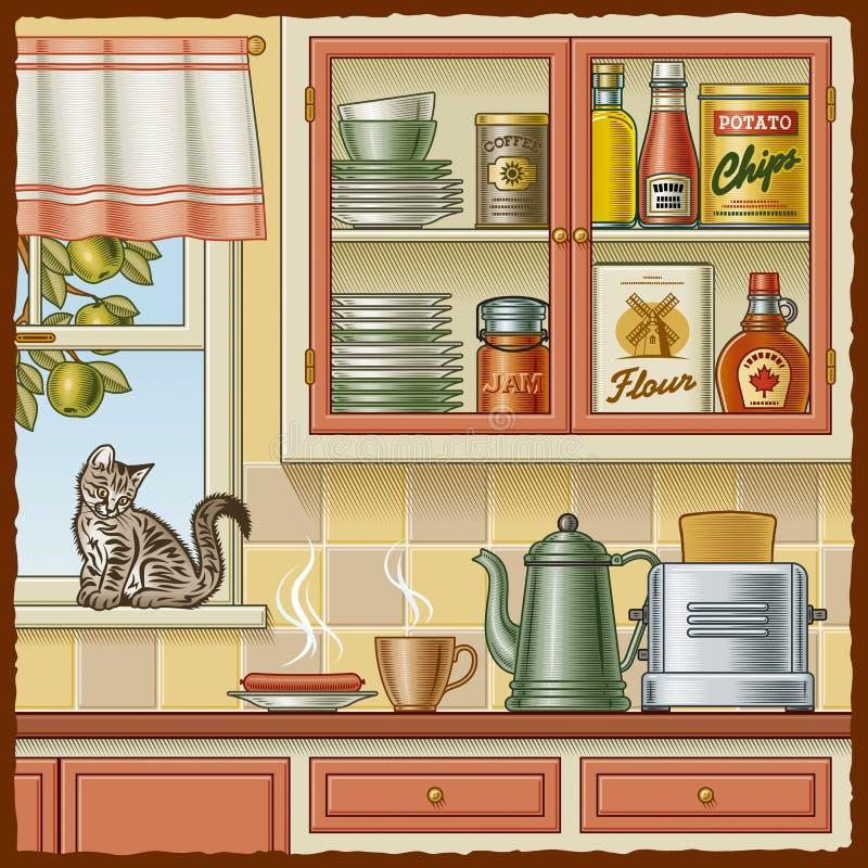 Cozinha retro ilustracao do vetor ilustracao de for Kitchen cabinets lowes with papiers peints cuisine