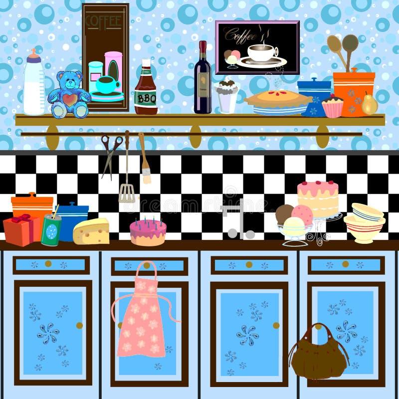 Cozinha retro do estilo de país ilustração stock