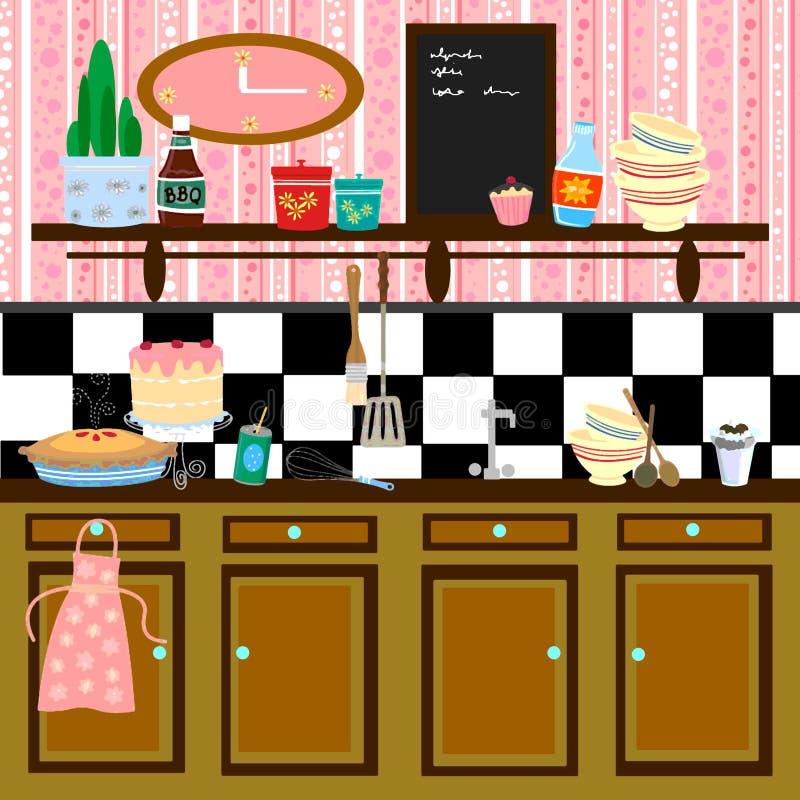 Cozinha retro do estilo de país ilustração do vetor