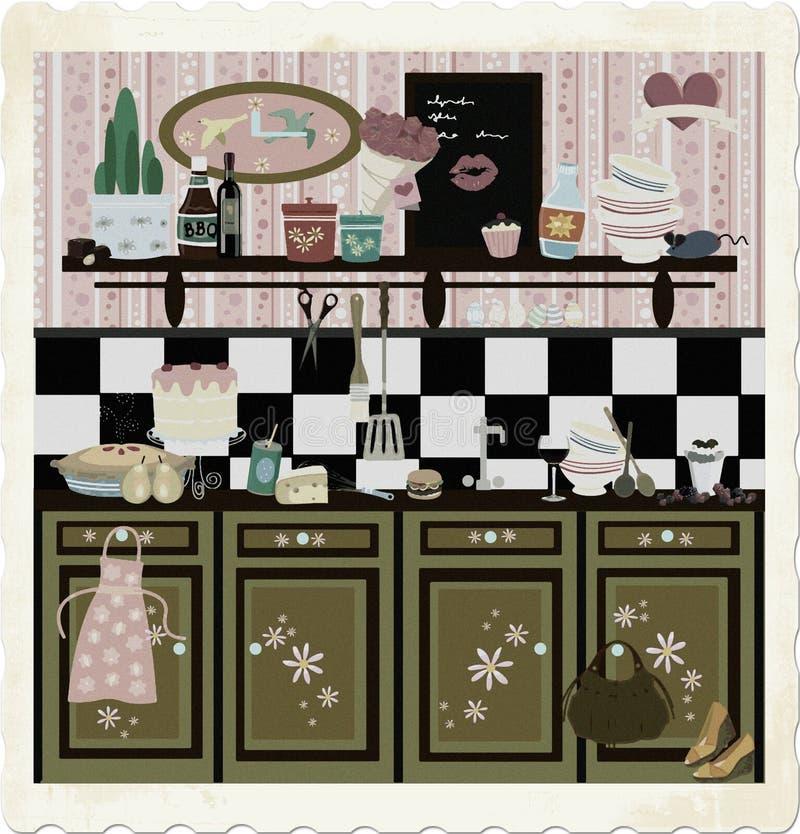 Cozinha retro do estilo de país (técnica adiantada da cor ilustração do vetor