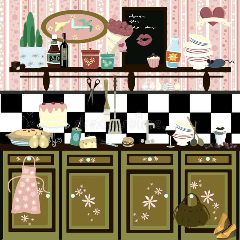 Cozinha retro romântica do estilo de país ilustração do vetor