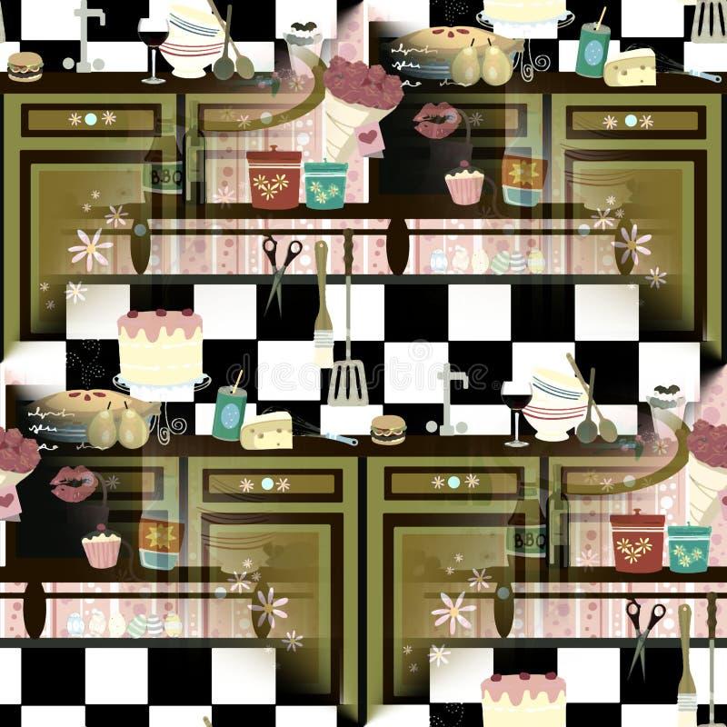 Cozinha retro sem emenda (técnica adiantada da cor ilustração stock