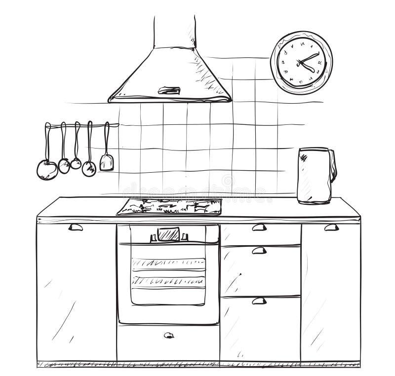 Cozinha tirada mão Esboço da mobília ilustração stock