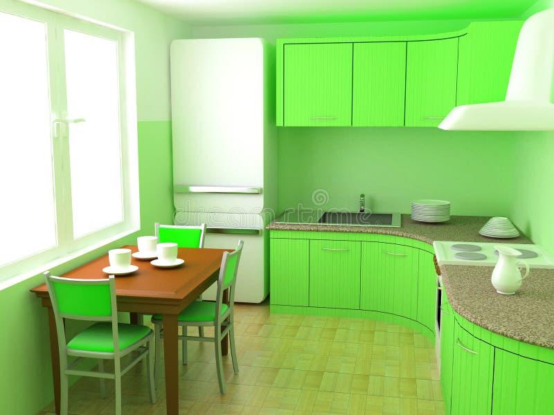 Cozinha um interior ilustração do vetor