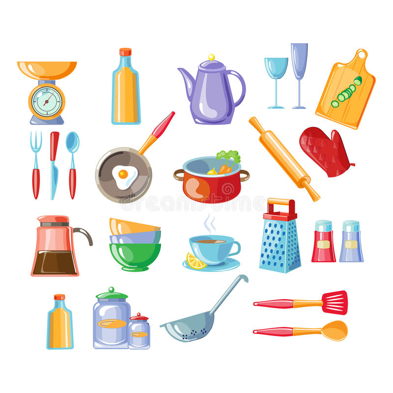A cozinha utiliza ferramentas a ilustração do vetor ilustração royalty free