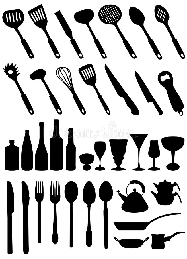 A cozinha utiliza ferramentas o vetor ilustração stock