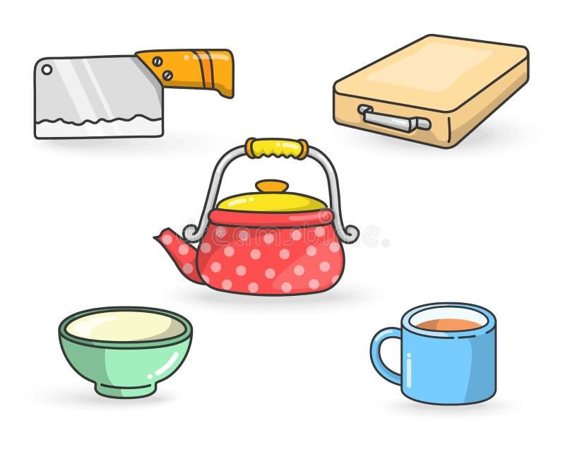 A cozinha utiliza ferramentas o vetor colorido ilustração do vetor