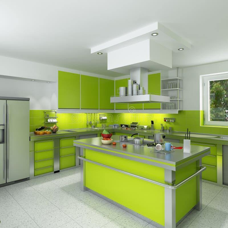 Cozinha verde moderna ilustração do vetor