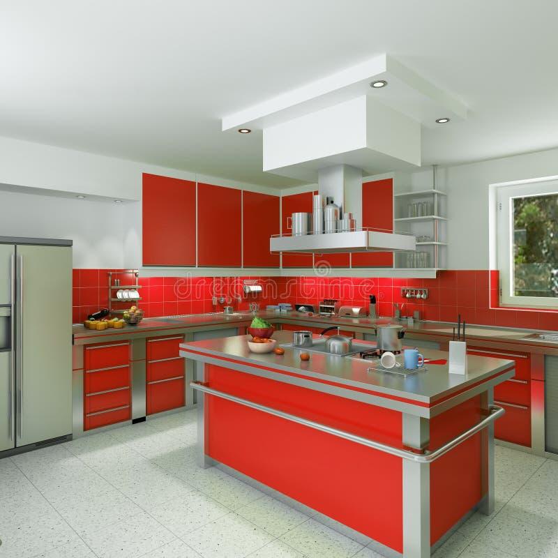 Cozinha vermelha moderna ilustração stock