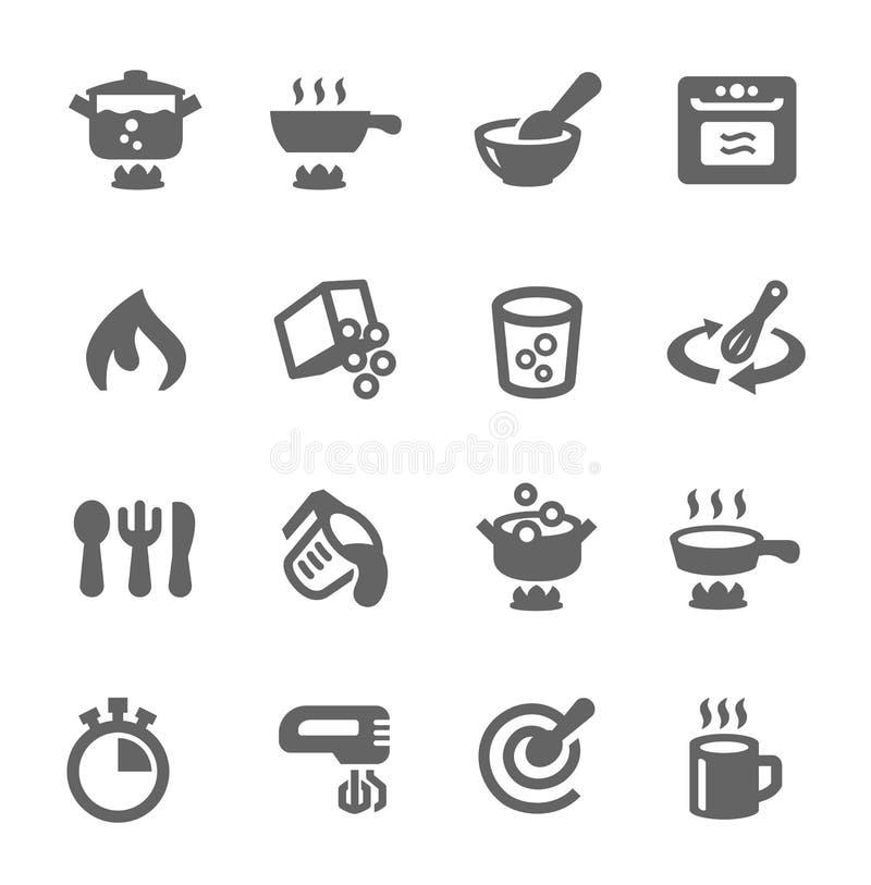 Cozinhando ícones ilustração stock