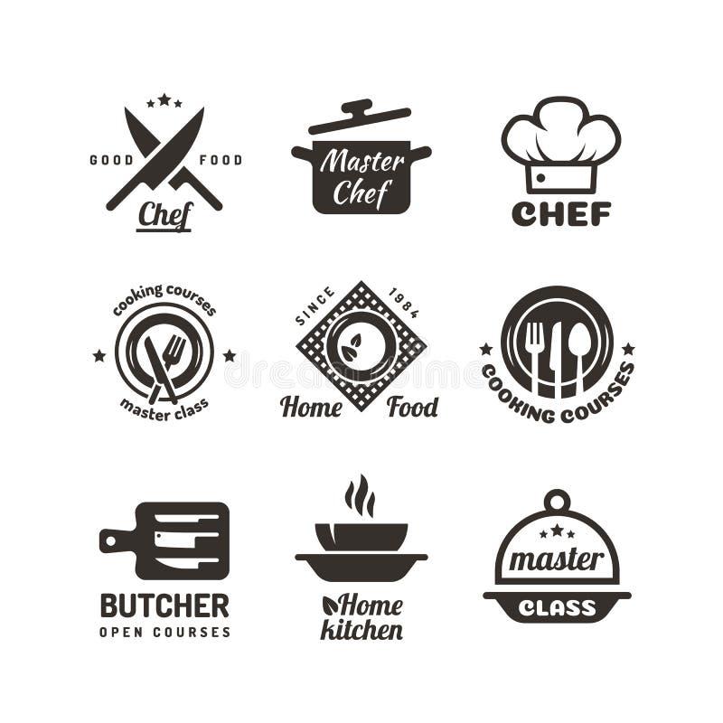 Cozinhando as etiquetas mestras das classes Emblemas do menu do restaurante ou do café Logotipo do vetor do cozinheiro chefe isol ilustração stock