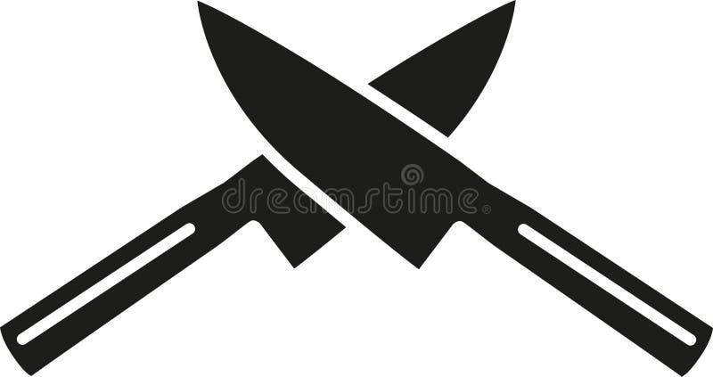 Cozinhando as facas cruzadas ilustração do vetor