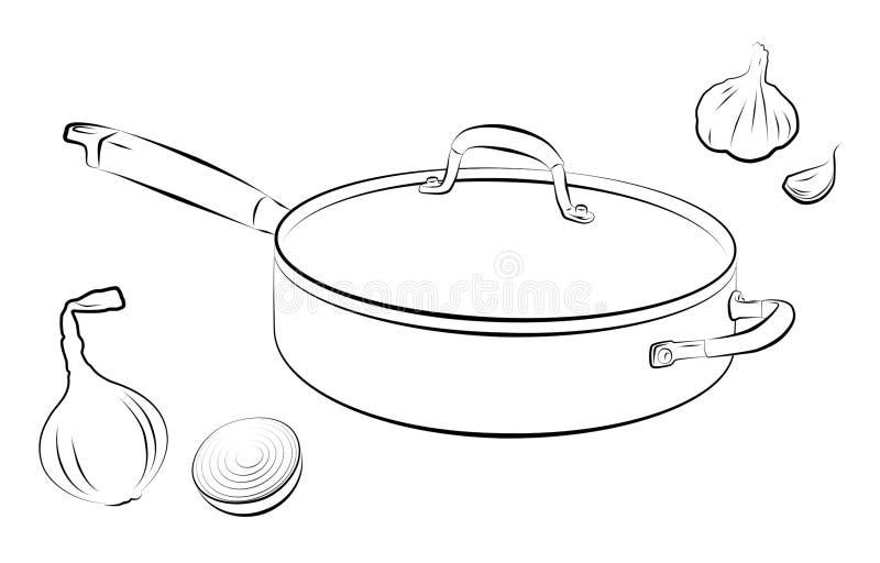 Cozinhando a bandeja ilustração stock