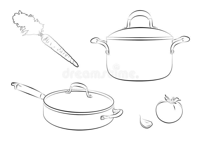 Cozinhando a bandeja ilustração do vetor