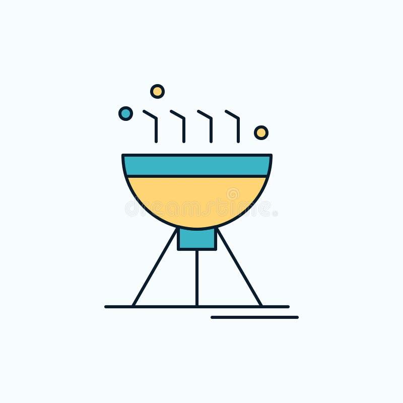 Cozinhando BBQ, acampando, alimento, ícone liso da grade sinal e s?mbolos verdes e amarelos para o Web site e o appliation m?vel  ilustração royalty free