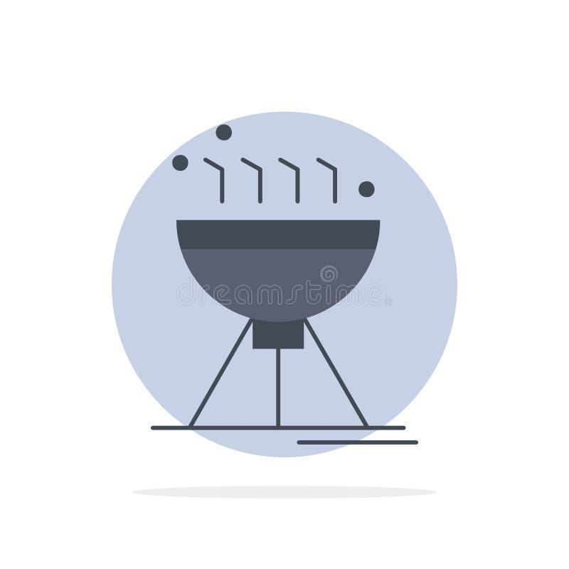 Cozinhando BBQ, acampando, alimento, vetor liso do ícone da cor da grade ilustração do vetor