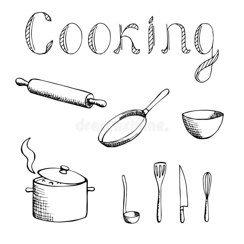 Cozinhando ilustração ajustada do branco do preto da arte gráfica ilustração do vetor