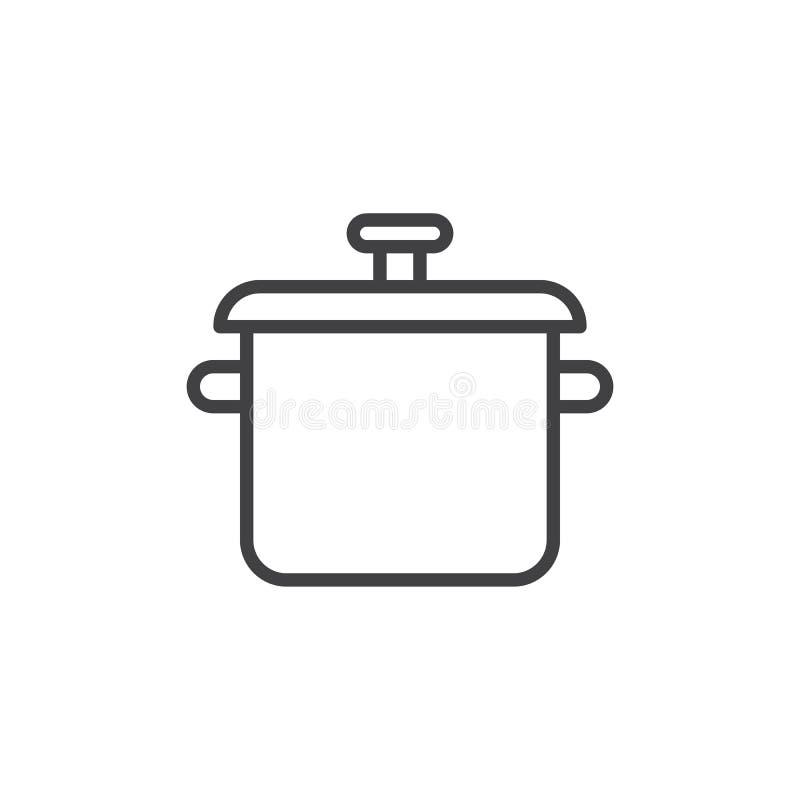 Cozinhando a linha ícone do potenciômetro ilustração do vetor