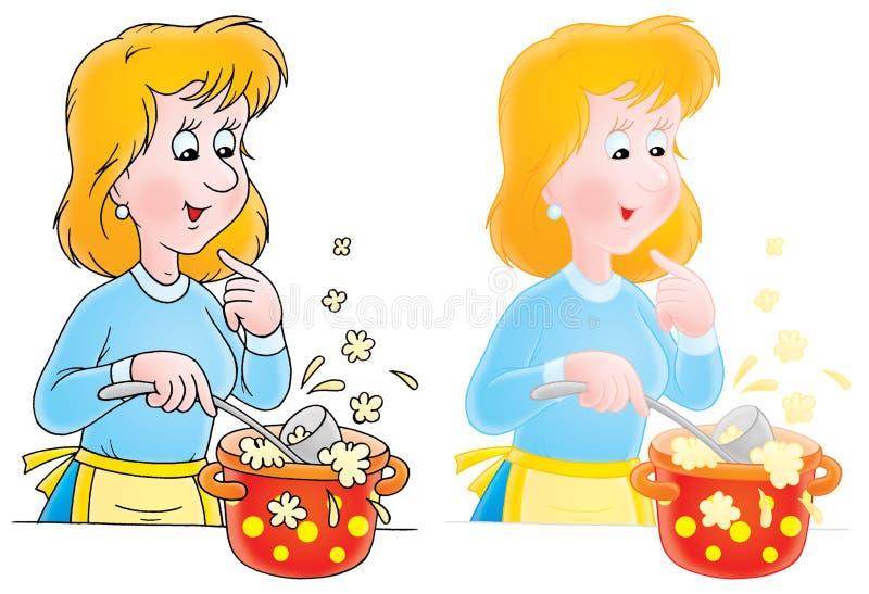 Cozinhando a mulher ilustração do vetor