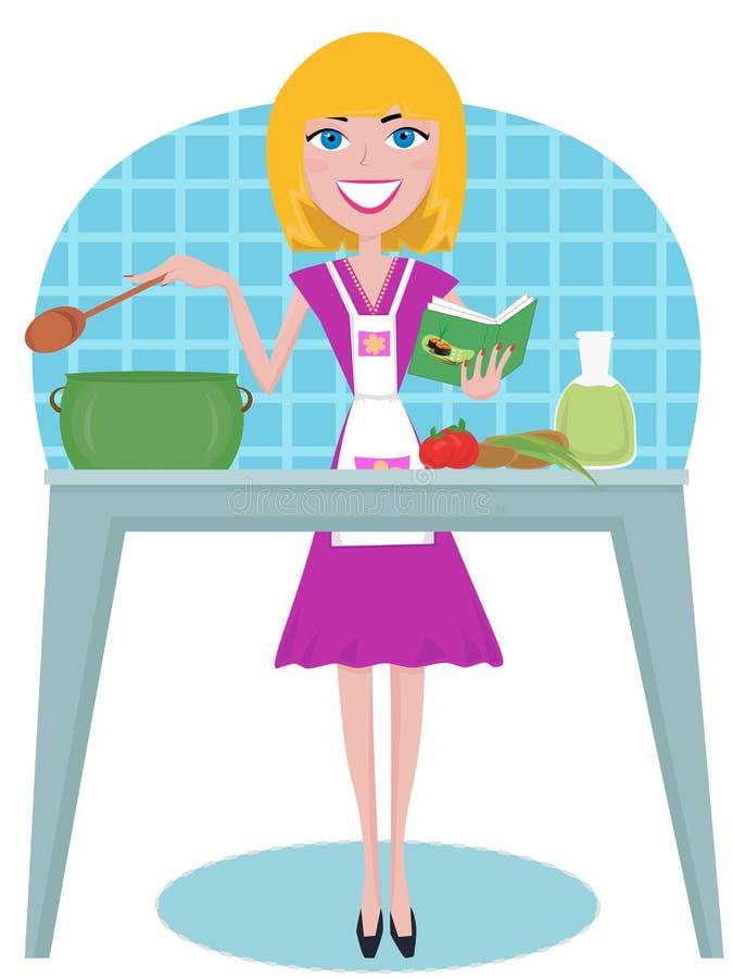 Cozinhando a mulher ilustração royalty free