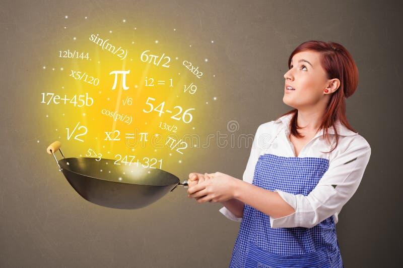 Cozinhando n?meros no frigideira chinesa ilustração do vetor