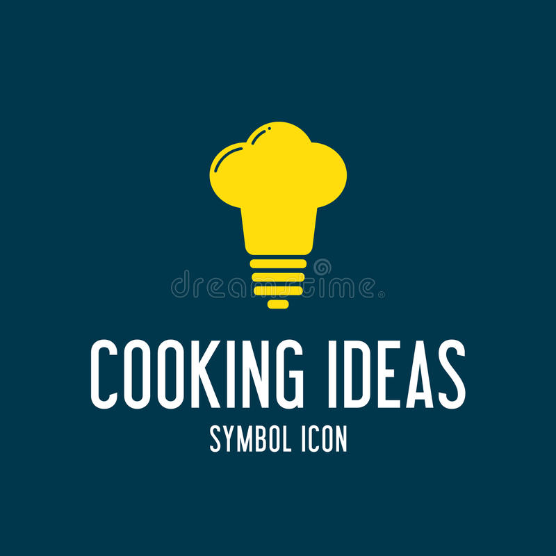 Cozinhando o ícone ou o Logo Template do símbolo do conceito das ideias ilustração royalty free