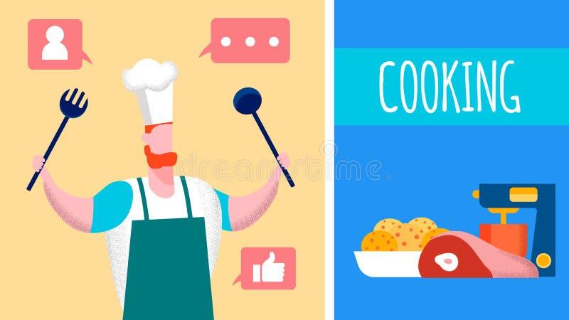 Cozinhando o blogue do Internet, ilustração do vetor de Vlog ilustração do vetor