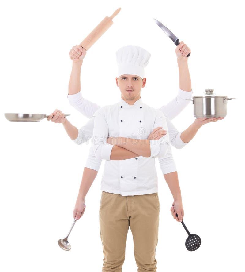 Cozinhando o conceito - homem novo no uniforme do cozinheiro chefe com guardar de 8 mãos imagem de stock