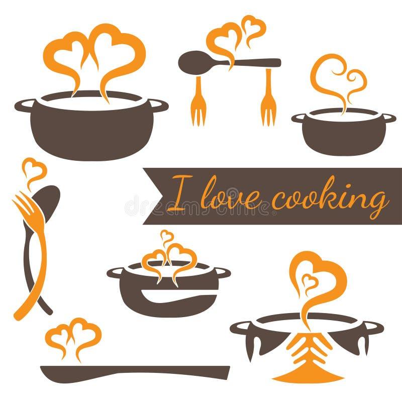 cozinhando o grupo do vetor de elementos da cozinha ilustração do vetor