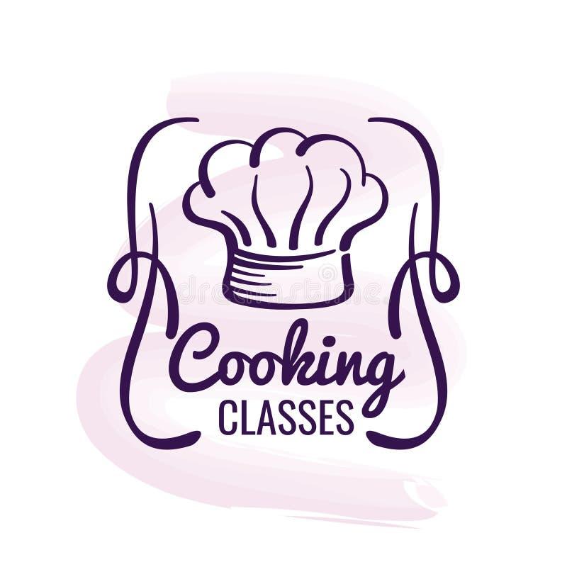 Cozinhando o logotipo projete com decoração da aquarela - emblema do restaurante ilustração royalty free