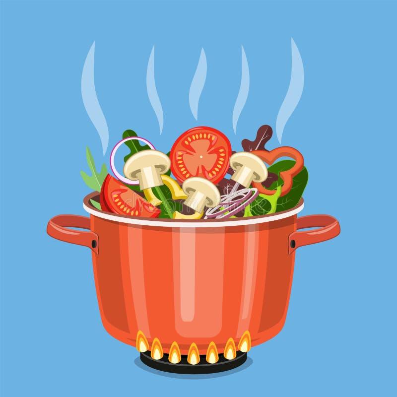 Cozinhando o potenciômetro no fogão com vegetais, ilustração do vetor
