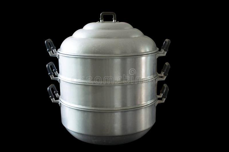 Cozinhando o potenciômetro ou o fogão de pressão de aço inoxidável foto de stock