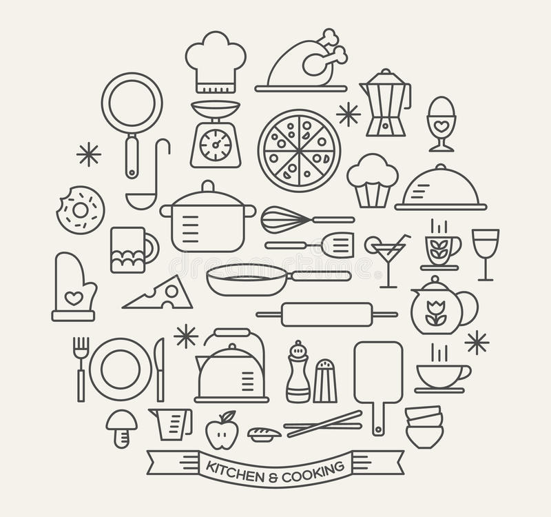 Cozinhando os ícones dos alimentos e da cozinha ajustados ilustração royalty free
