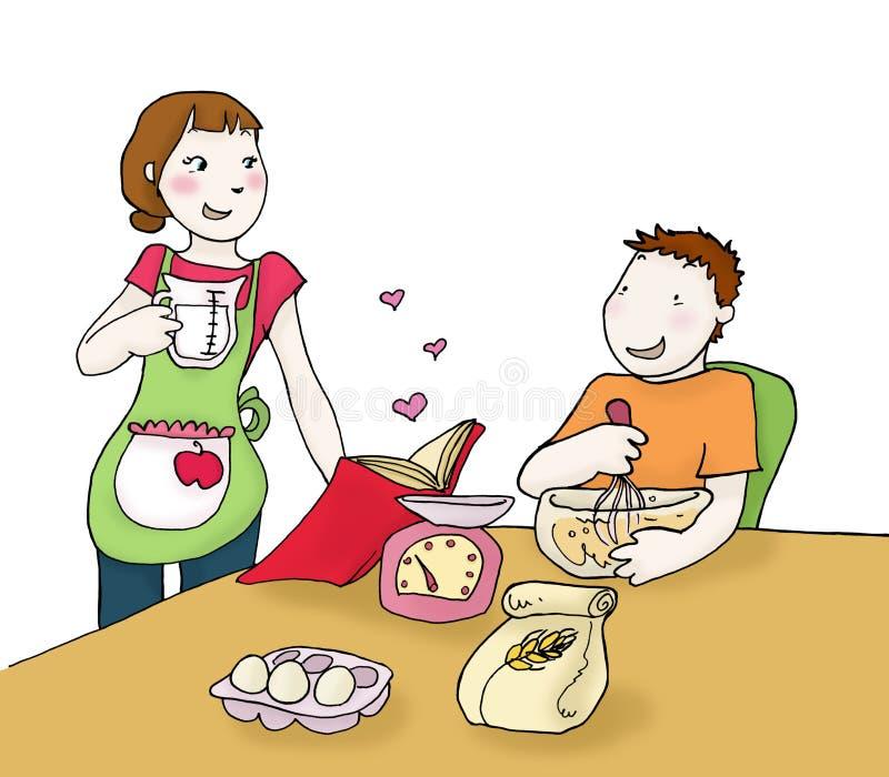 Cozinhando pares ilustração stock